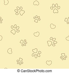 paw prints and hearts on beige yellow seamless pattern