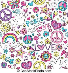Peace, Love & Dove Doodles Pattern