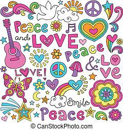 Peace, Love, Music Groovy Doodles