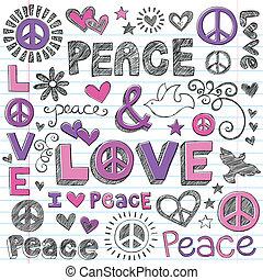 Peace & Love Sketchy Doodles Vector