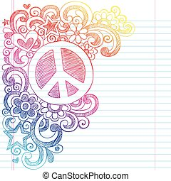 Peace Sign Sketchy Doodles Vector