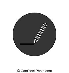 Pencil White Icon Vector. Black pictogram in trendy flat style illustration on gray background. Pencil logo design