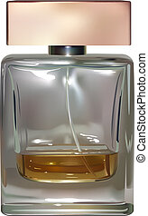 vector realistic perfume bottle on white background