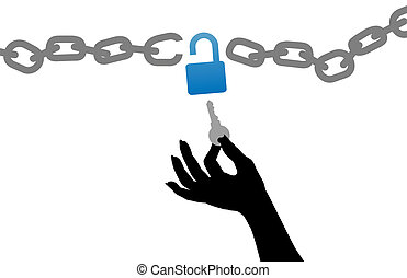 Female hand holds a key to unlock a lock to a chain to break free