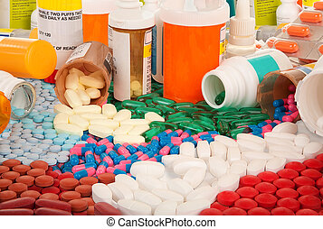 Pharmaceutical products are spilled on the table.