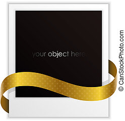 photo frame with golden ribbon