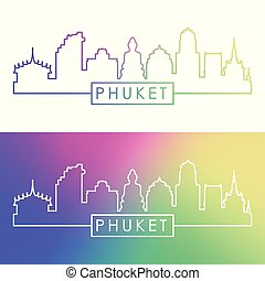Phuket city skyline. Colorful linear style.
