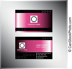 Pink business card.