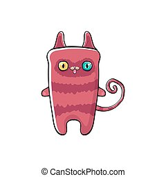 pink cute kitty character isolated on white background. Cartoon happy pink cat character with big eyes