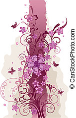 Pink flowers and butterflies border