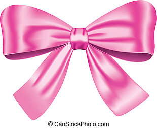 Pink gift bow isolated on white background. Vector illustration. Ribbon