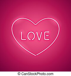 Pink Love in the Heart Neon Banner