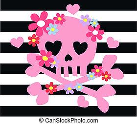 pink scull bones flowers