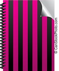 Pink stripped emo book with realistic page curl on the spring