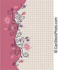 Pink vector flowers border