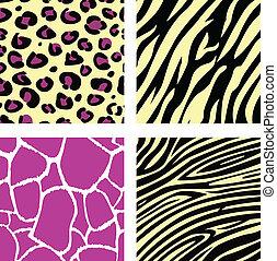 Pink & yellow animal leopar, tiger, zebra and giraffe pattern /