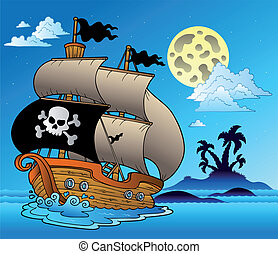 Pirate sailboat with island silhouette - vector illustration.