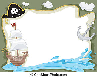 Background Illustration of a Pirate Ship Sailing in the Ocean