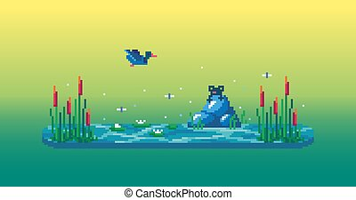 Pixel art swamp with cute frog, reeds, water lilies and duck.