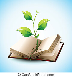 illustration of plant growing in open book on abstract background