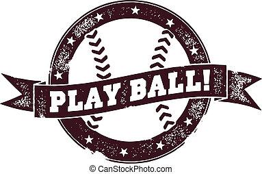 Play Ball Vintage Baseball Stamp