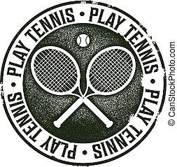 Play Tennis Vintage Sport Stamp