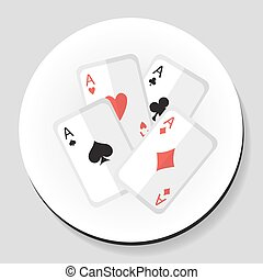 Playing Cards 4 Aces sticker icon flat style. Vector illustration.