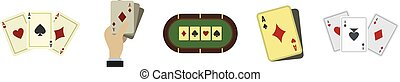 Playing cards icon set, flat style