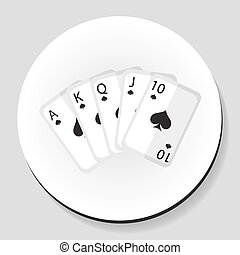 Playing cards pocker royal flash combination sticker icon flat style. Vector illustration.