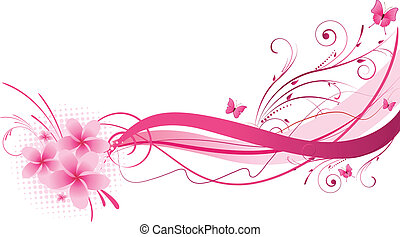 Plumeria flowers with wave floral design in pink color