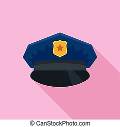 Police cap icon, flat style