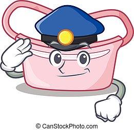 Police officer cartoon drawing of women waist bag wearing a blue hat