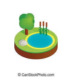 Pond in a summer forest isometric 3d icon