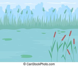 Pond surrounded by reed grass flat color vector illustration