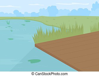 Pond with dock flat color vector illustration