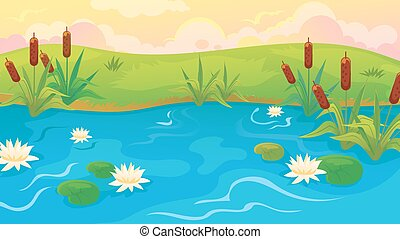 Pond With Reeds And Lilies