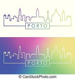 Porto city skyline. Colorful linear style.