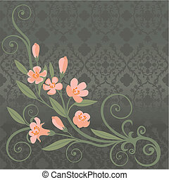 postcard with pink flowers