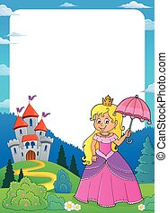 Princess with umbrella theme frame 1