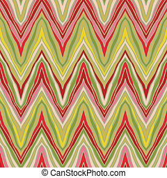 psychedelic linear zigzag pattern, seamless vector background, or fabric in natural organic colors