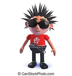 Punk rocker 3d cartoon character standing pensively