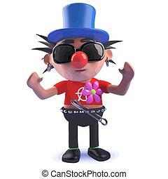 Punk rocker cartoon character in 3d dressed as a clown