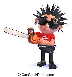 Punk rocker cartoon character in 3d playing with a chainsaw