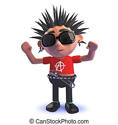Punk rocker cartoon character in 3d with his arms raised high