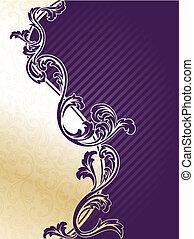 Purple and gold elegant floral background