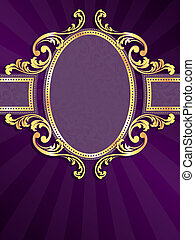 Purple and gold vertical label