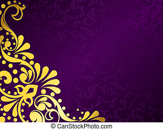 Purple background with gold filigree, horizontal