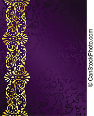 stylish vector background with a metallic margin of victorian patterns. Graphics are grouped and in several layers for easy editing. The file can be scaled to any size.