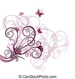 Purple and pink floral design corner element vector illustration