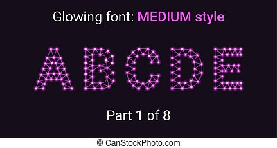Purple Glowing font in the Outline style